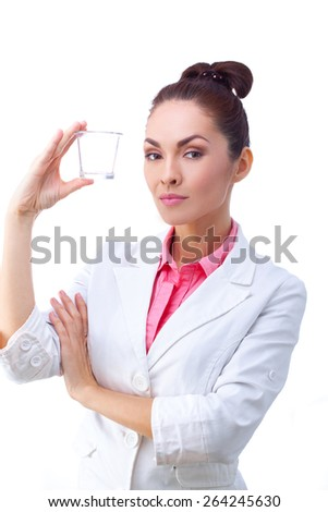 Women doctor whith glass of medicine in hand.  All isolated on white background. - stock photo