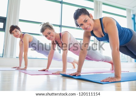 Women doing pushups at the gym - stock photo