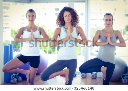 Women doing tree pose in fitness studio - stock photo
