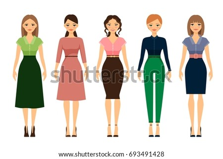 Women Dress Code Romantic Style Icons Stock Vector