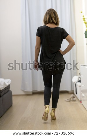 Woman From The Back Wearing Yellow High Heels. Girl