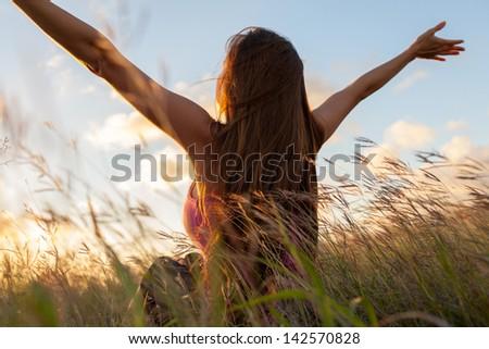 Women enjoying the summer (freedom concept) - stock photo