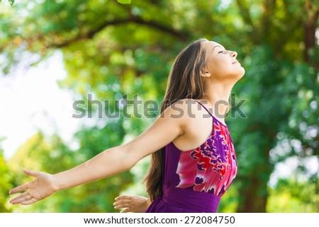 Women. Enjoying the sun - stock photo