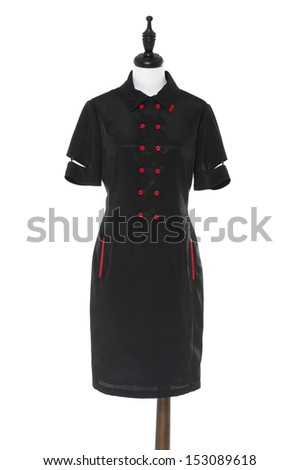Women evening dress on a dummy isolated  - stock photo