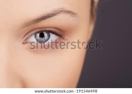 Women eye. Beauty closeup eye of girl - stock photo
