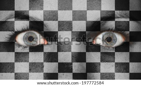 Women eye, close-up, blue eyes, finish flag - stock photo