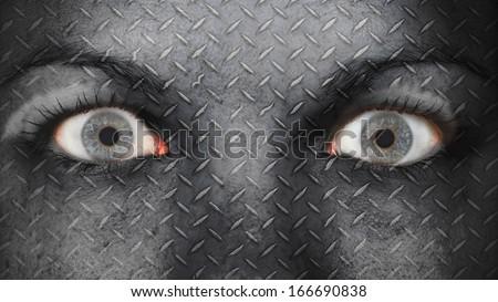 Women eye, close-up, eyes wide open, metal plate - stock photo