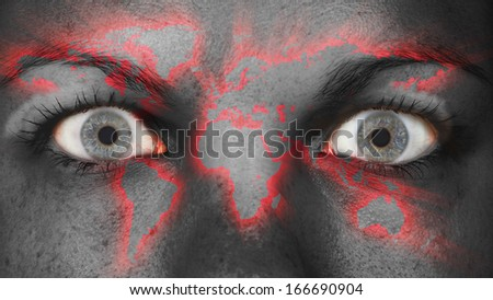 Women eye, close-up, eyes wide open, world map - stock photo