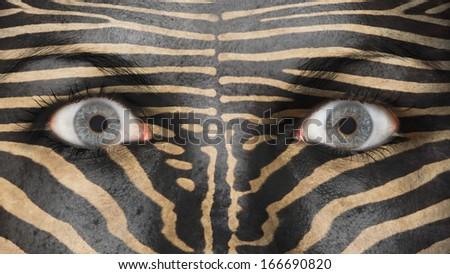 Women eye, close-up, eyes wide open, zebra pattern - stock photo
