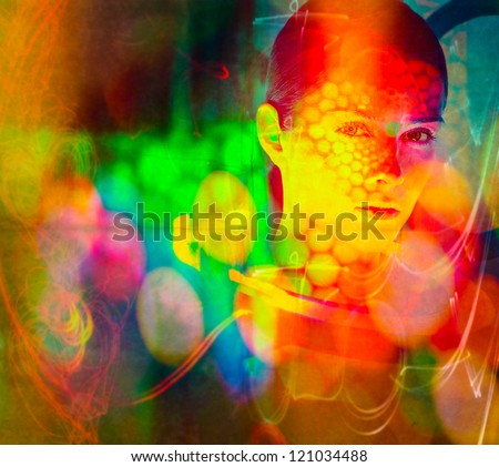 women face color splash. Photo based illustration.Extreme texture and grain added. - stock photo