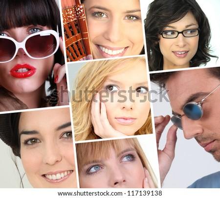 women facial expressions - stock photo