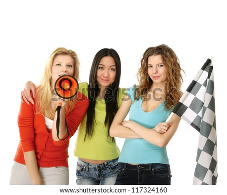 Women fans with  finish flag and loudspeaker, isolated on white - stock photo