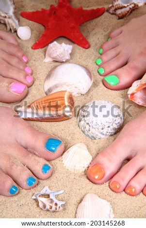 women feet and pedicure - stock photo