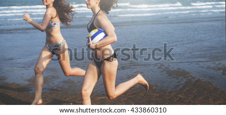 Women Friendship Playing Volleyball Beach Summer Concept - stock photo