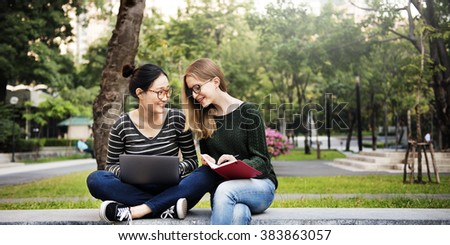 Women Friendship Studying Brainstorming Technology Concept