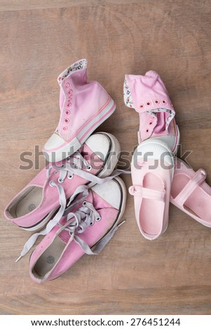 Women, girls, mother and daughter shoes , family concept - stock photo