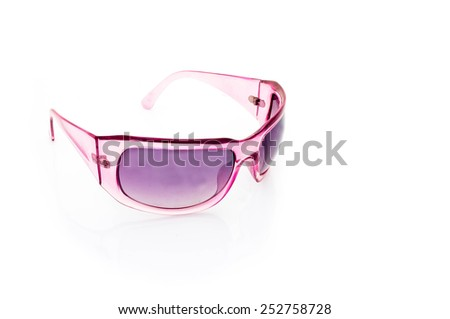 Women glamorous pink sunglasses isolated on white - stock photo
