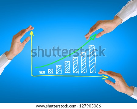 women hand and business graph