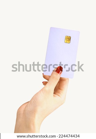 Women Hand Holding Blank ATM Card - stock photo