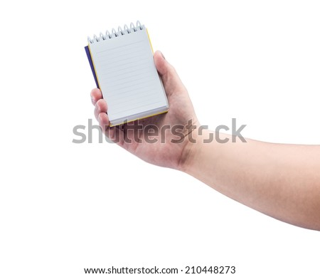 Women hand holding blank paper notebook isolated on white background