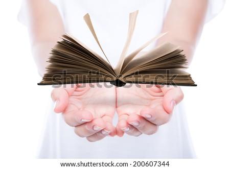 Women hand holding book - stock photo