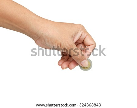 Women hand holding coin  the concept of business.with clipping path.