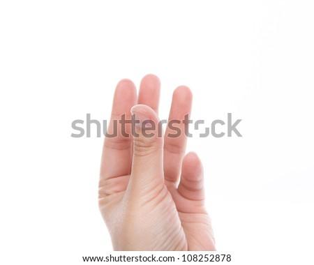 Women hand  holding something isolated on white background - stock photo