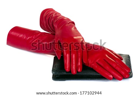 women hand in red leather glove isolated on white  - stock photo