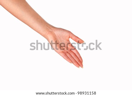 women hand isolated on white backgrounds - stock photo