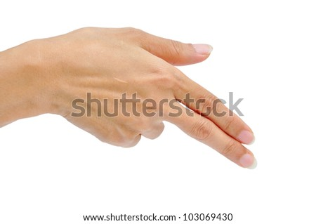 women hand making sign. isolated - stock photo