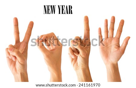 Women Hand sign new year number 2015 on Isolated white Background