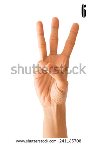 Women Hand sign number  on Isolated white Background