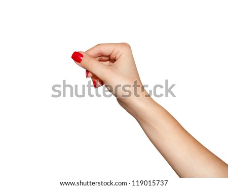 Women hand to hold business card ,credit card,blank paper or other isolated on white background