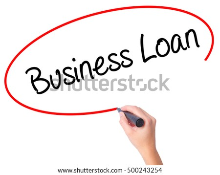 Women Hand writing Business Loan with black marker on visual screen. Isolated on white. Business, technology, internet concept. Stock Photo