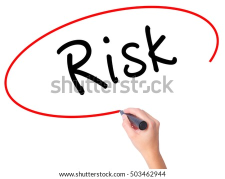 Women Hand writing Risk with black marker on visual screen. Isolated on white. Business, technology, internet concept. Stock Image