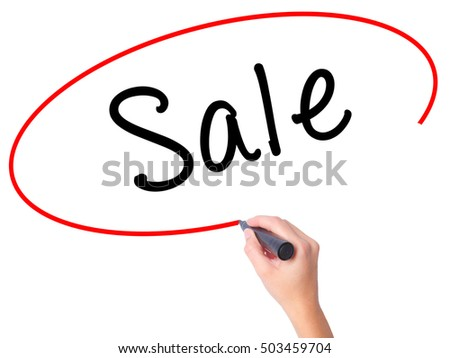 Women Hand writing Sale with black marker on visual screen. Isolated on white. Business, technology, internet concept. Stock Image