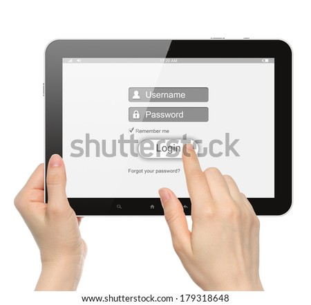 Women hands hold and touch tablet PC with login box on white background - stock photo