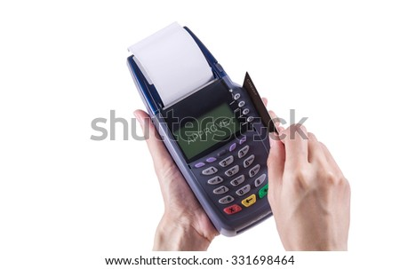 Women Hands swiping Credit card on Credit card machine or Credit card Terminal ,on Isolated white background with clipping path
