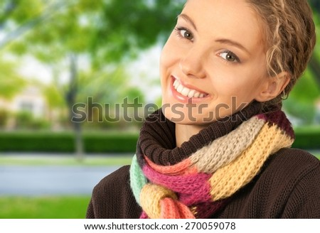 Women. Happy Young Woman in Colorful Scarf - stock photo
