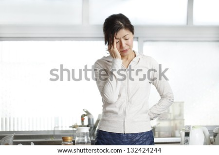 Women, headache, Asian, - stock photo