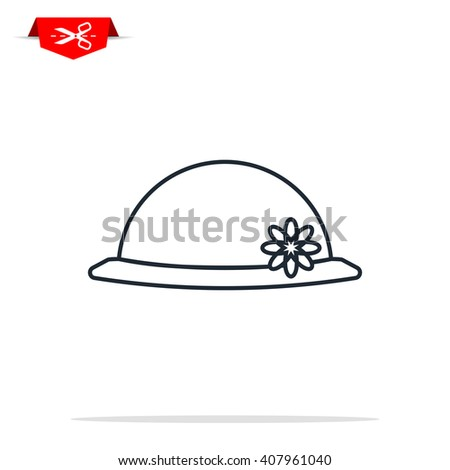 women hipster hat icon - stock photo