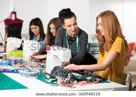 Women in a sewing workshop - stock photo