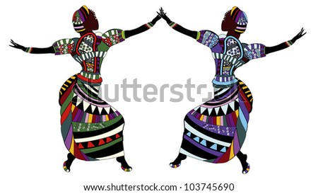 women in beautiful clothes dancing on a white background - stock photo