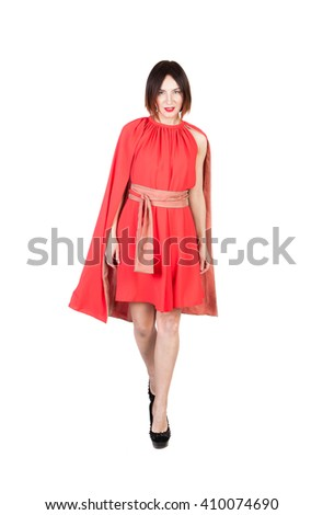 women in dress on white isolated - stock photo
