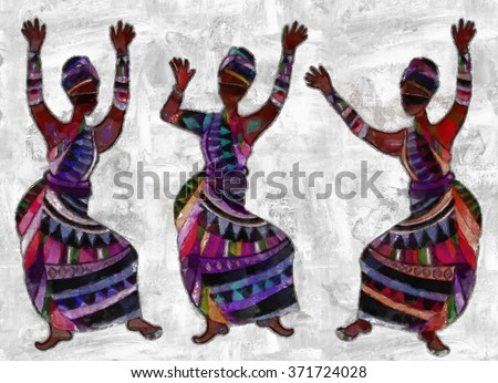 Women in ethnic dresses painted in watercolor style - stock photo