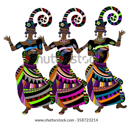 Women in ethnic style happy merry carnival - stock photo
