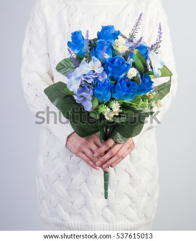 Women Knit Sweater Bouquet Lilies Valley Stock Photo Royalty Free