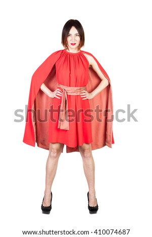 women in red dress on white isolated
