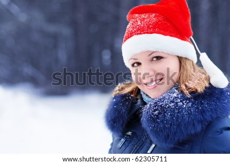 women in red hat - stock photo