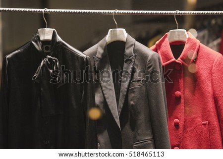 Women jackets in a store